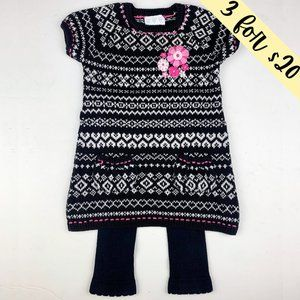 3/$20 Three Hearts Sweater Dress & Legging Set 12M